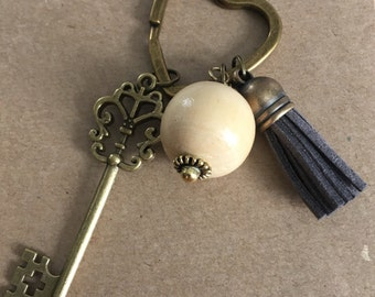 Antique Brass Key and Tassel Keychain