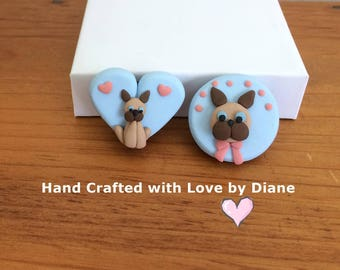 2 Siamese Cat Refrigearator Magnets Hand Crafted Polymer Clay 1 round 1 heart