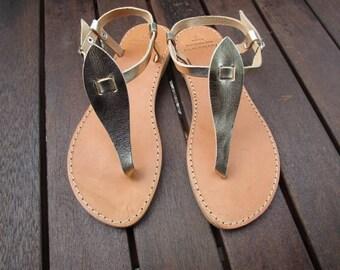 Hamd Made Greek Leather Sandal (Gold, Natural, Black Colour)