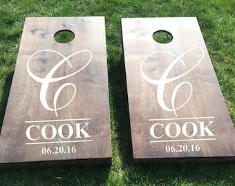 Custom Wedding Cornhole Boards - Custom Monogram Last Name/Date