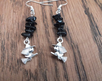 Witch earrings, black chip earrings, black and silver earrings