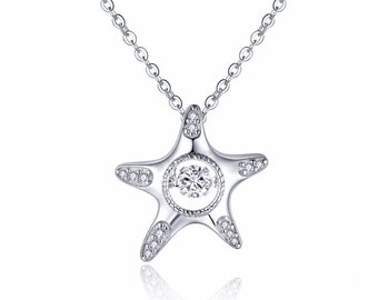 1.00 Carat Dancing Diamond Star Fish Pendant with Chain