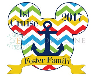 Disney Cruise Vacation Magnet for Stateroom Door, Magnet, Personalized Name Year Visit Number