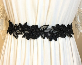 Black Lace Rose Bridal Sash