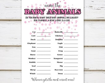 Printable Baby Shower Game, Baby Animals, Name the Animals, Animal Gestation, Pink Confetti, Simple, Girly, It's a Girl, Matching, MB002