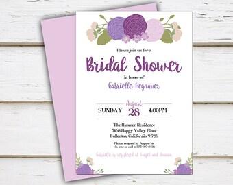 Printable Purple Floral Bridal Shower Invitation, Purple Peonies, Summer, Spring, Bachelorette Party, Couple's Shower, Wedding Shower, MB198