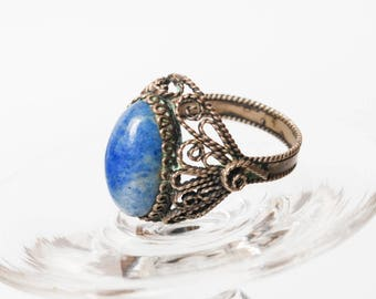 Vintage silver plated metal filigree ring, with Lazurite gemstone, Blue stone  (BZ079)