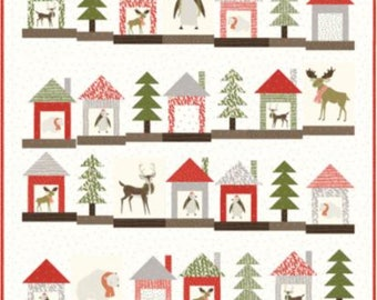 Merrily Christmas Quilt Kit Stacie Bloomquist Ginger for Moda Finished Size 60 Inches by 67 Inches.