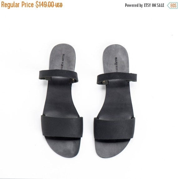 Black Leather Flat Sandals  / Strappy Sandals / Minimalist Comfortable Boho Shoes / Every Day Shoes / Slides / Designer Shoes - Amy