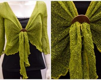 Boho chic crochet style knit shrug cardigan Pear Green onesize 10 12 14 16 18 20