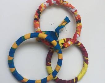 lot de 3 bracelets en pagne africain