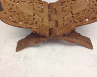 Carved Wood Folding Book Rest