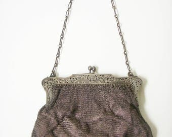 Antique french silver clutch bag
