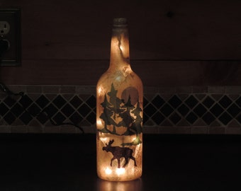Moose and pine trees wine bottle light Rustic nightlight lodge decor camp living handcrafted