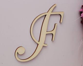 Wood Monogram, Cursive Capital Letter, Large Wooden Monogram, Wood Script Letter, Nursery Monogram, Housewarming Gift, Single Monogram
