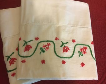 Pillow Cases Red Tulip Embroidered