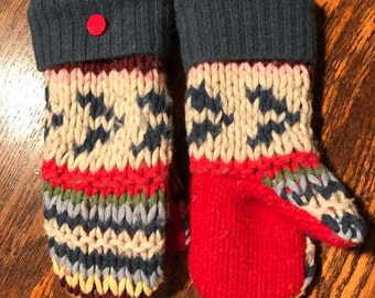 Kid Mittens! Soft and warm handmade wool sweater mittens size medium