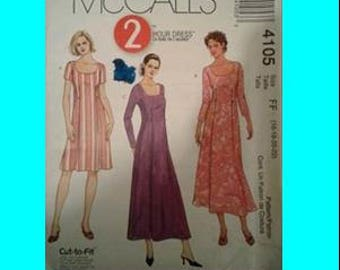 MCCALLS, 4105, 2 hour dress, sewing pattern, ladies, uncut, size 16-18/20-22, sewing, pattern, supplies