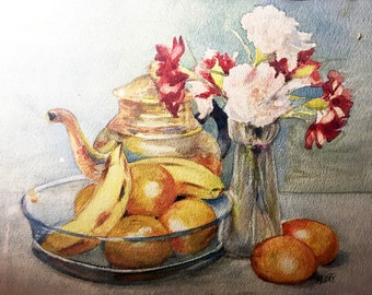 French Original Watercolor Painting by M. GAY - Still Life with Flowers and Fruits - Twentieth Century