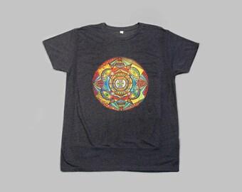 Mandala tshirt colorful art print, yoga wear, perfect present for him, mandala on dark grey men's T-shirt yoga clothing BELIEVE IN YOURSELF