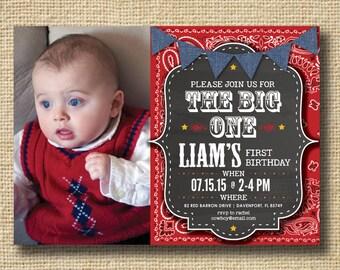 PRINTABLE Chalkboard Baby Boy First Birthday Invitation Boy First Birthday Country Western BBQ Picnic - Boys Birthday Party Chalkboard