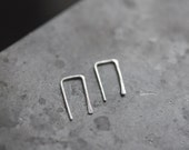 2 RIGHTS - Minimalist, Modern, Simple, Short Drop Earrings, Staple-shaped, Edgy Jewelry, Handmade, Tiny Earrings