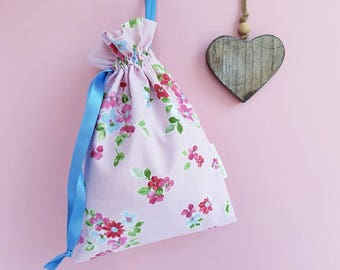 Ballet Shoe Bag - Drawstring Bag - Floral Bag - Rose Gift Bag - Hobby Craft Bag - Toy Bag - Make Up Bag - Gift Bag - Nappy Bag - Wedding Bag
