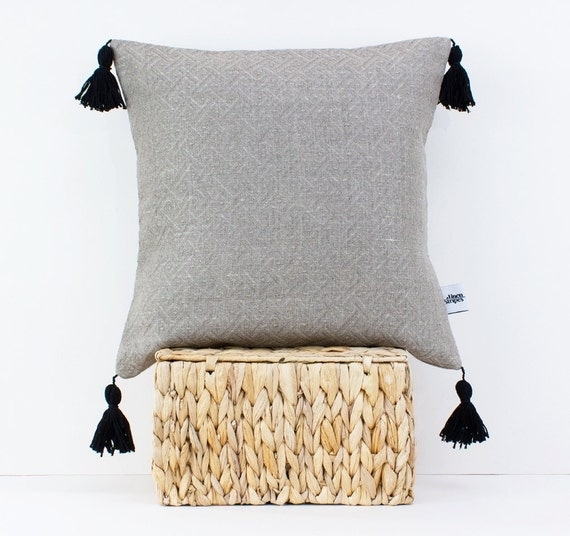 Linen Pillow With Tassels Pom Pom Cushion Tassel Pillow