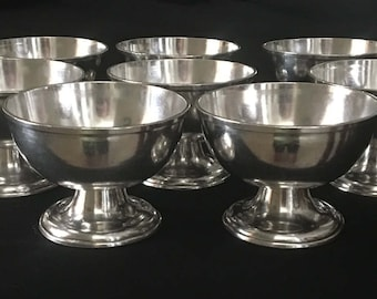 Rare Silver Soldered Sherbet Dishes R Wallace Set of Eight