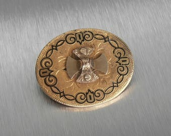 Victorian 10K Taille D'Épargne Brooch Pendant , Layered Etched, 9 Grams