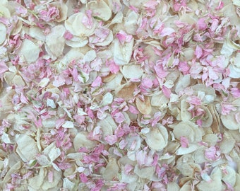 Wedding confetti biodegradable handmixed natural dried petals pink ivory and ivory vintage