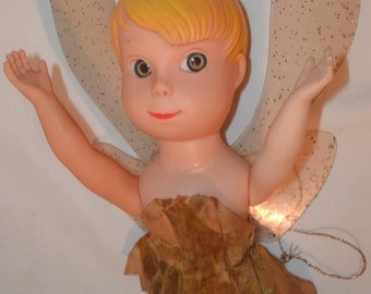 """Rare Old TINKERBELL ~ Peter Pan Pixie ~ 12"""" Rubber Doll ~ Walt Disney Productions"""