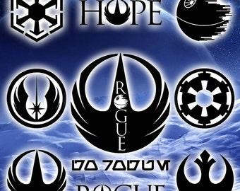 Rogue One Decals / Star Wars / Rebel Alliance / Death Star / Empire / Sith / Jedi / Galactic / Rogue 1 / Starwars / vinyl / decal / sticker