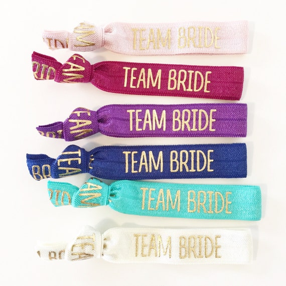 Team Bride Hair Ties | Bachelorette Party Favors, Team Bride Elastic Hair Ties, Wedding Party + Bridesmaid Gifts, Bachelorette Survival Kit