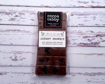 Cherry Brownie - Milk Chocolate Bar. Handmade from Belgian chocolate.