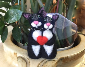 Mr and Mrs wedding cake topper Mr and Mrs cake topper black tuxedo cat tuxedo cats black white red heart funny cute unique bow white OOAK