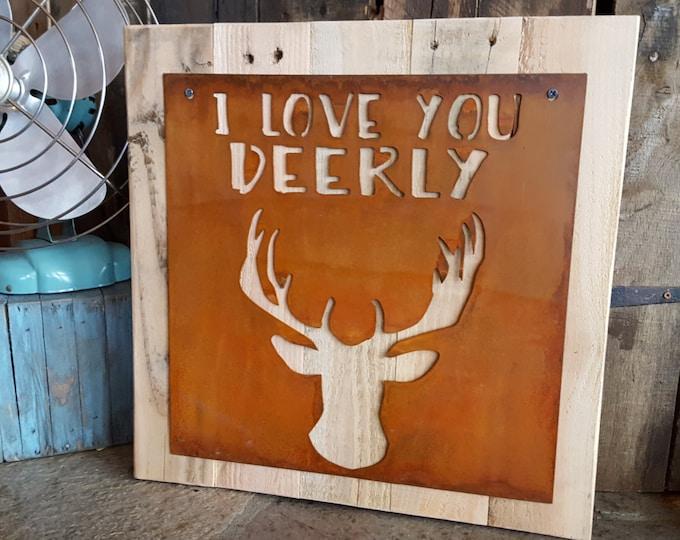 I love You DEERLY, Nursery Decor, Rustic Sign, Woodland Nursery, Deer Bust, Deer Head, Farmhouse Decor, Rustic Home Decor, Boys Room, Cabin