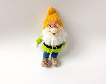 Gnome Toy, Gnome Baby Rattle, Gnome Crocheted Doll, Amigurumi Gnome