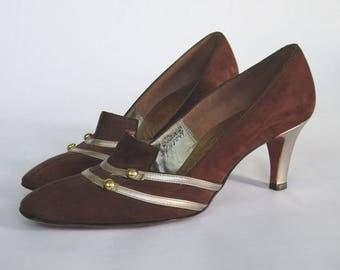 1960s Brown & Gold Pumps  ||  Vintage 60s High Heels  ||  60s Shoes Size 7 US
