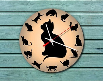 cat clock  yellow   grey  extra quiet clockwork  kids room  girls room  animal  black clock hand modern wall clock, animal clock