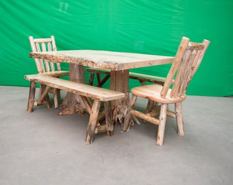 Northern Rustic Pine Log Stump Kitchen/Dining Table - 40x60 Table Only