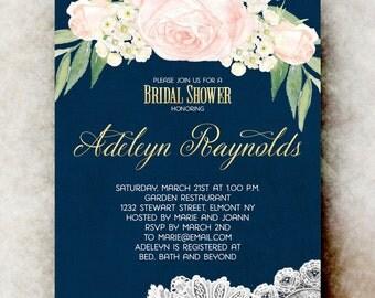 Watercolor bridal shower Invitation printable - navy blue bridal shower invitation, floral bridal shower invitation, bridal shower invites