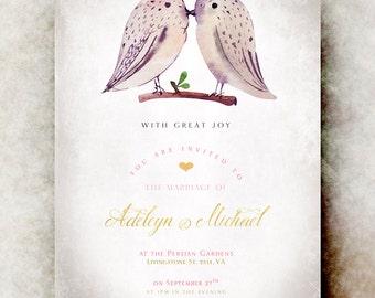 Watercolor Wedding invitation printable - elegant wedding invitation, calligraphy wedding invitation, birds wedding invitation set