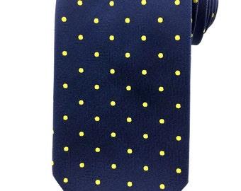 Navy Blue with Yellow Polka Dots Tie 8.5 cm Necktie. Party Tie. Casual Tie. Handmade Tie. Blue with polka dots tie. Blue Tie