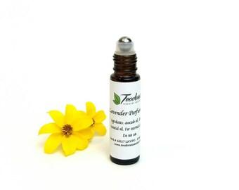 Essential oil perfume oil.  Lavender perfume oil. Lemongrass perfume oil.