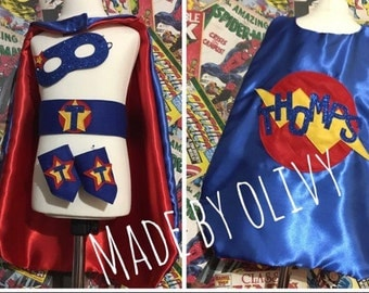 Personalised superhero cape set with glitter name and cuffs