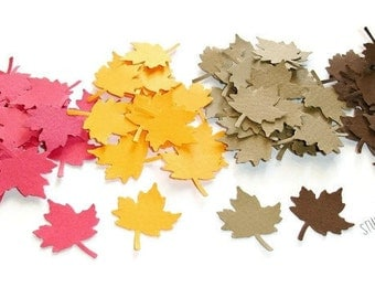 Mixed Brown, Red & Orange Maple Leaves Cut-outs, Confetti -or Choose Your Colors- Set of  60pcs,120pcs, 250pcs