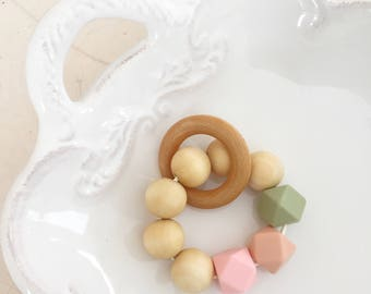 Wooden and Silicone Bead Teether, Teething Toy, Teething ring, Teething Bracelet, Quartz Peach, Quartz Pink and Lint Green.