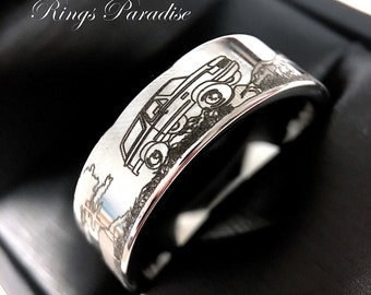 Mens Wedding Bands, Custom Made  Wedding Band, Tungsten Wedding Band, Ford Car Design Tungsten Ring, Mens Tungsten Rings by  Rings Paradise