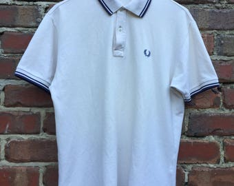 Vintage Fred Perry Cream White Polo with Blue Collar and Sleeve Highlights